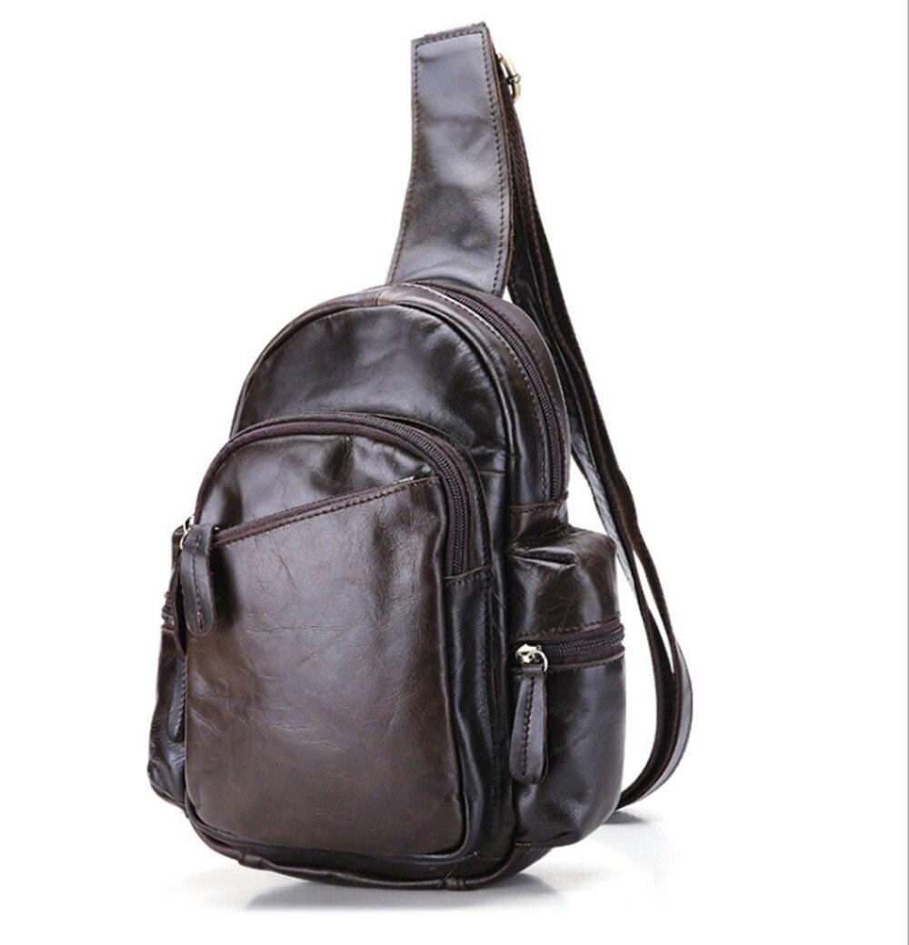 ФОТО 2017 Men Genuine Leather Vintage Cowhide Sling Chest Pack Messenger Shoulder Cross Body Bag Fashion Package