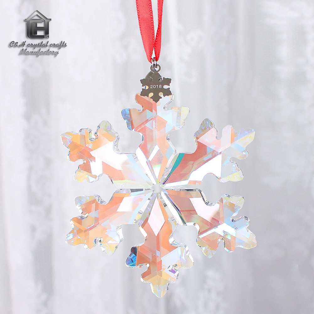 Us 18 58 Newest Crystal Snowflake Hanging Christmas Drop Pendant Chandelier Parts Ornament Wedding Brithday Party Decor Festival Gifts In Pendant