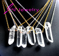 Fashion DIY clear quartz Crystal Pendant Necklace Druzy Natural Stone Crystal Necklaces For Women 2017 New Arrival
