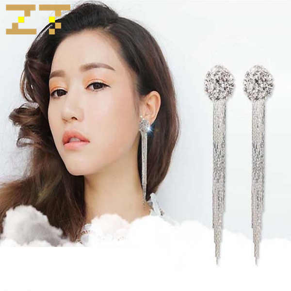 Hot Sale Long Tassel Statement Dangle Drop Wedding Crystal Luxury Earrings Fashion Jewelry Earring for Bride Women Girls Brincos