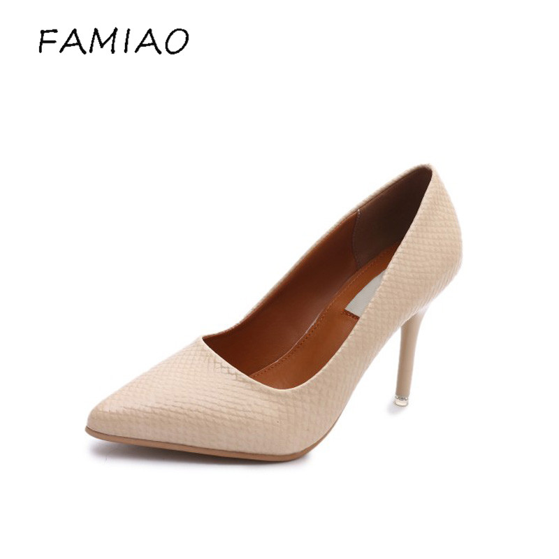 FAMIAO women pumps high heel beige fashion zapatos mujer tacon 2017 ladies shoes party pointed toe thin heel wedding shoes famiaoo women pumps chaussure femme black gray zapatos mujer tacon high heel 2017 pointed toe thin heel ladies pumps women shoes