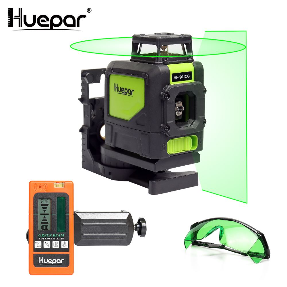 Huepar Laser Level Green Beam Cross Laser Self-leveling 360-Degree with 2 Pluse Modes+Huepar Laser Receiver+Huepar Laser Glasses