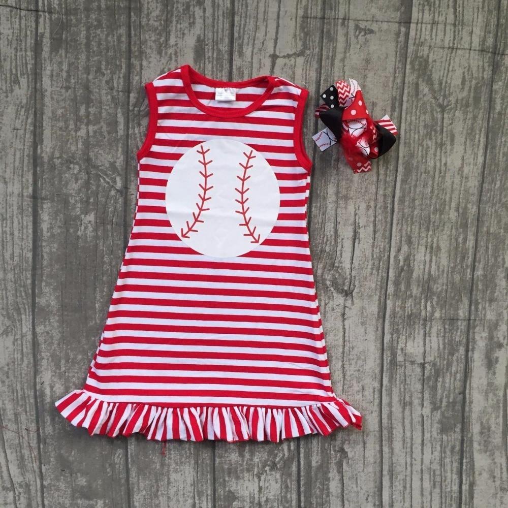 baby girl baseball dress children girls boutique summer red dress children kids baseball red stripes dress with matching bows
