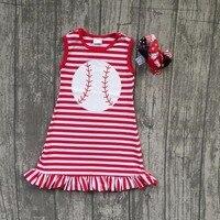 Baby Girl Baseball Dress Children Girls Boutique Summer Red Dress Children Kids Baseball Red Stripes Dress