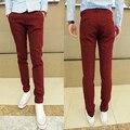 Envío Libre 2016 de la Nueva Llegada 5 Colores Casuales Para Hombre Delgado Pantalones de Los Hombres Pantalones de Algodón Pantalones Pantalones Hombre Tallas grandes 13M0110