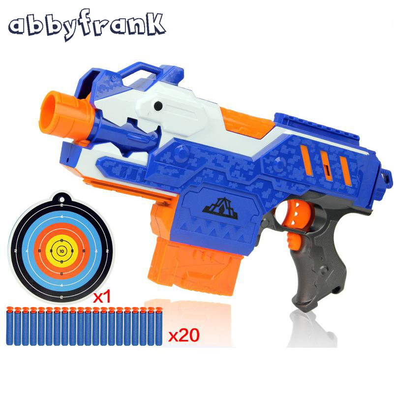 Abbyfrank Gun Toy Electric Sniper Rifle Plastic Soft Bullet Toy Gun 20 Bullets 1 Target Arma