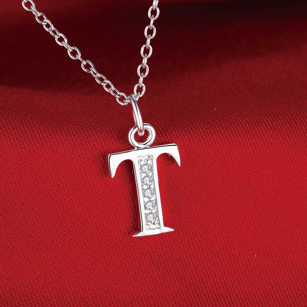 Fashion Letter T Silver Plated Necklace New Sale Silver Necklaces U0026  Pendants /ZTAAMFGU NETKFKWU(