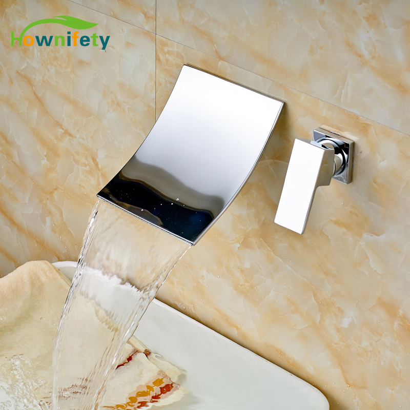 Solid Brass Bathroom Sink/ Tub Faucet Single Handle Waterfall Spout Mixer Tap Wall Mounted chrome finished bathroom sink tub faucet single handle waterfall spout mixer tap solid brass page 1
