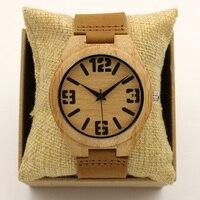 Fashion Japan Quartz Luxury Men Wood Watch Arabic Big Number Vintage Genuine Leather Band Bamboo Wooden
