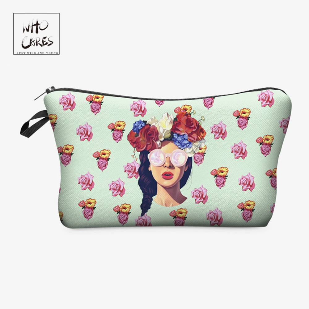 Who Cares Fashion printing Hipster girl Makeup Bags Cosmetic Organizer Bag Pouchs For