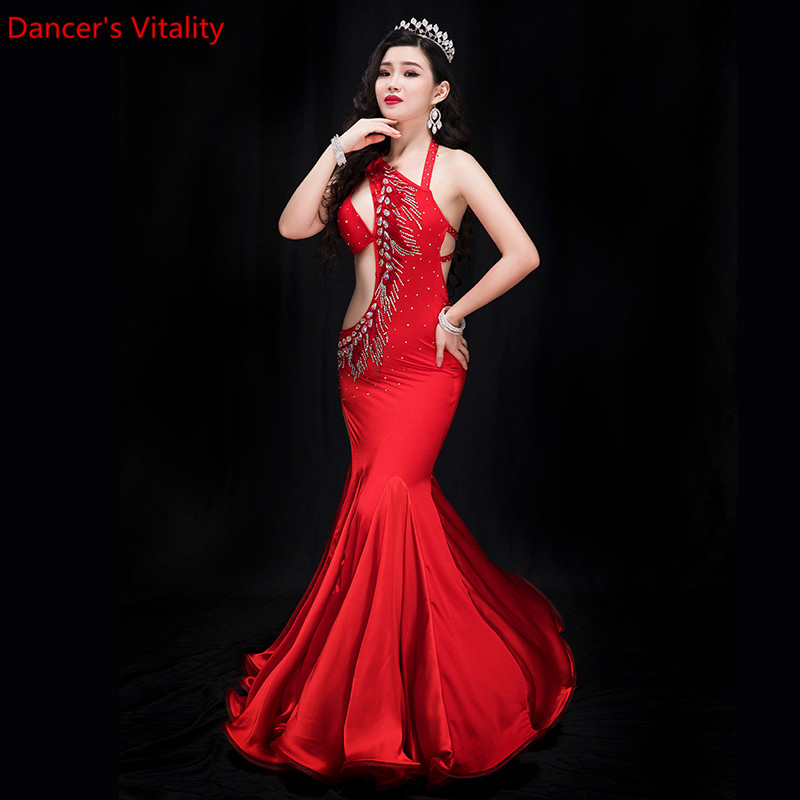 New Performance Belly Dance Elegant Diamond dress Girl Dress Dresses Belly Dancing Belly Dance Costumes Dance Costume