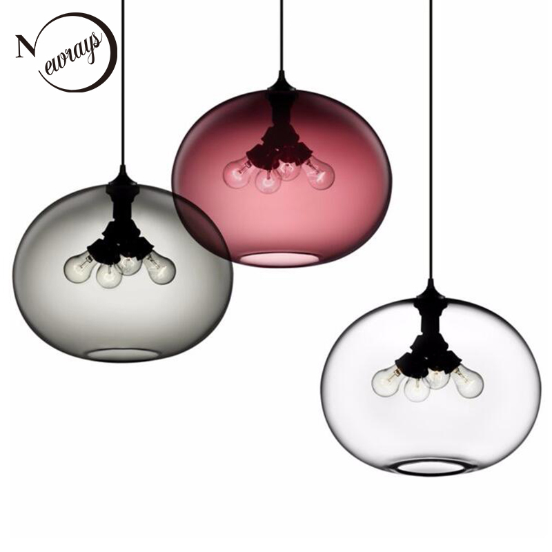 Loft Vintage Industrial Colorful Glass Pendant Lights with 6 Color Lampshade E27/E26 LED pendant lamps for Restaurant bedroomLoft Vintage Industrial Colorful Glass Pendant Lights with 6 Color Lampshade E27/E26 LED pendant lamps for Restaurant bedroom