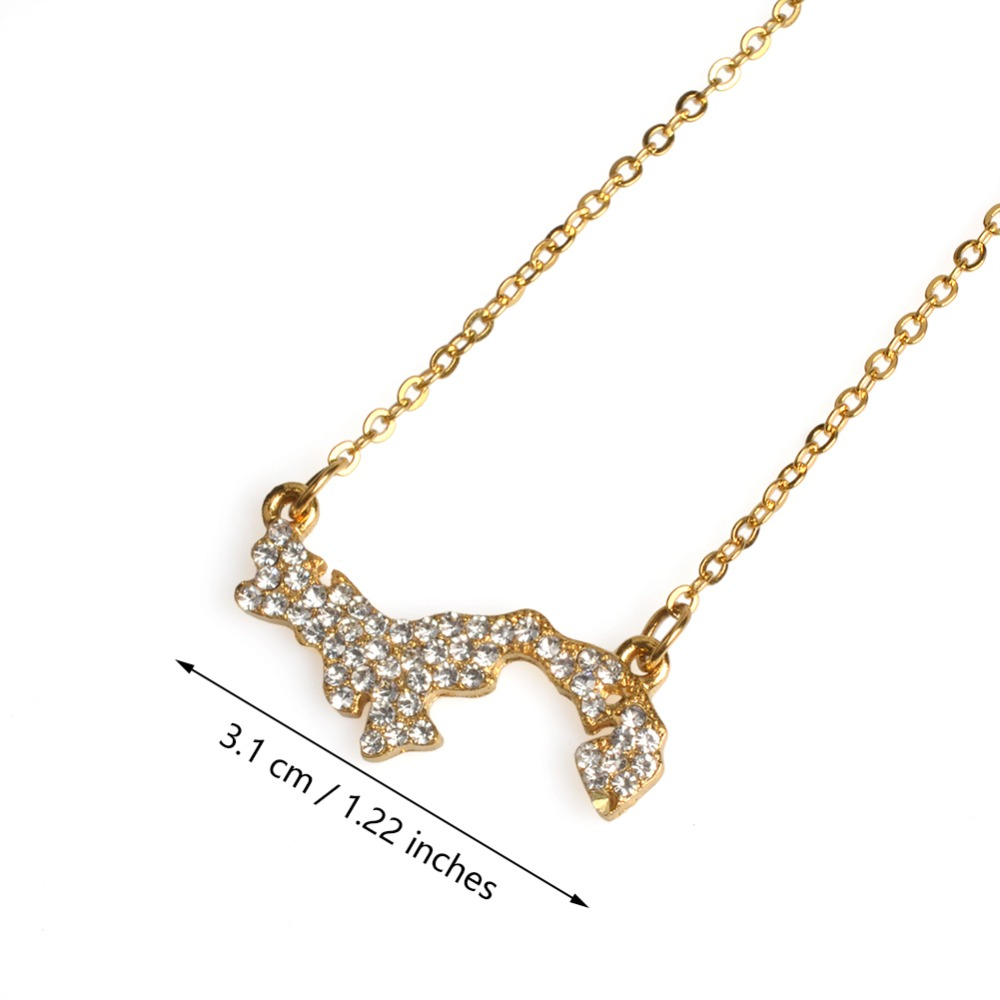 Anniyo Panama Map Necklace With Rhinestone for Women Girls Silver/Gold Color Jewelry Map of Panama Chains Jewellery #070206