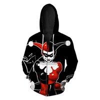 Men Women Clown 3D Funny Hoodie Teens Fashion Long Sleeve Plus Size Zipper Hooded Sweatshirt Hipster