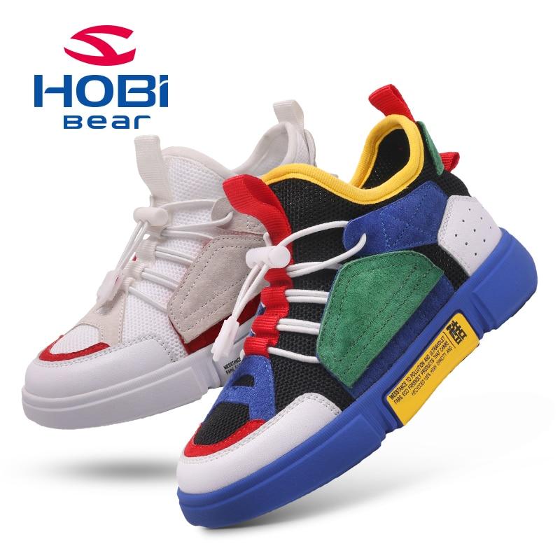 22877e86c7d0 Hobibear Kids Sport Shoes Boys Casual Girls Sneaker Shoes Children Fashion  Colorful Patchwork Canvas Child Tennis