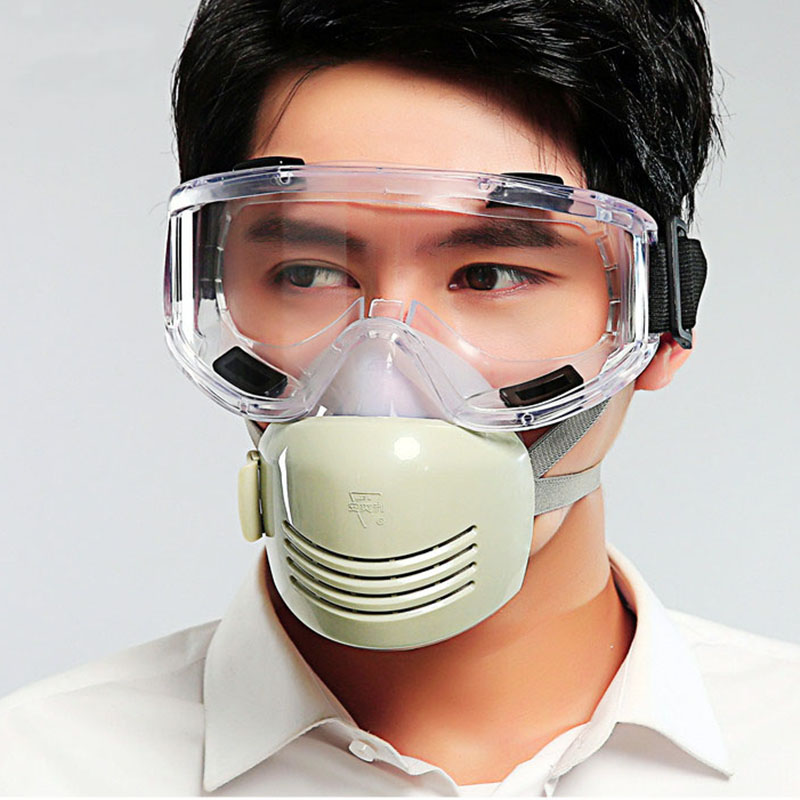 Dust Silicone Safety Mask with Goggles Breathable for Coal Mine Industry Anti-fog/haze/PM2.5 Protective Respirator 701B high quality airsoft mask pc the lens used for cs welding polishing dust the face protect mask splash proof material safety mask