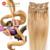 Apliques de Cabelo Estilo Ondulado Clipe Ins Grampo Na Extensão Do Cabelo Humano Em Linha Reta Loira 60 cm 24 polegadas Remy Grampo Em Extensão Do cabelo