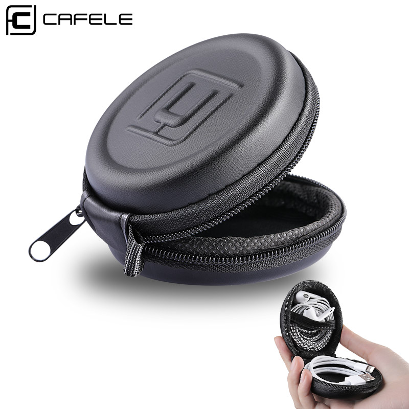 Cafele Mini Earphone Holder Case Storage Carrying Hard Bag Box Cover For Earphone Earbuds USB Cable SD TF Cards Protective Case