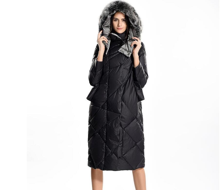 Slim Hooded Women Long   Down     Coat   Winter   Coat   Long   Down     Coat   Light   Down   Jacket With Fur Trim