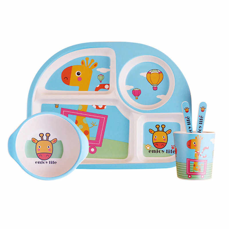 5 ชิ้น/เซ็ตเด็กไม้ไผ่ธรรมชาติจานเป็นมิตรกับสิ่งแวดล้อมเด็กจานเด็กการ์ตูนชุดอาหารของขวัญเด็ก