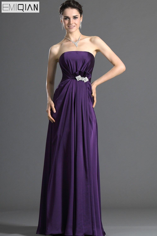 Simple Strapless Empire Grape Long Formal Wedding Party   Dress     Bridesmaid     Dress