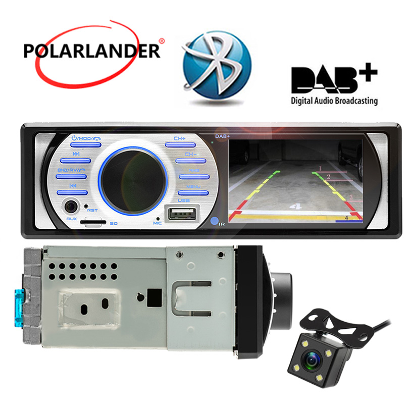 1Din Car Radio In-Dash Interface 12V  USBTFAUX in 3.0  HD DAB+ FM ISO Contact Auto Audio Stereo MP5WMA Bluetooth With Camera