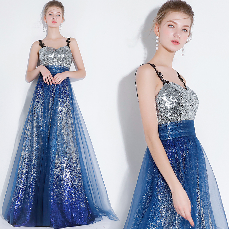 Royal Blue Long Women Evening Gowns Suspenders Strapless ...