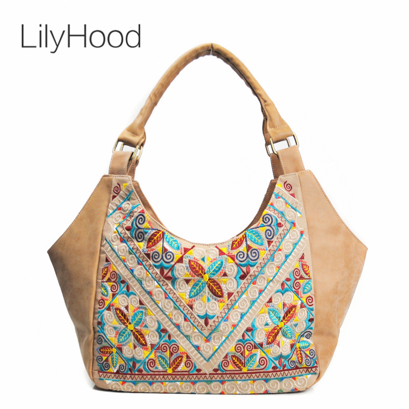 LilyHood Women PU Leather Ethnic Top Handle Handbag Leisure Bohemian Boho Chic Hippie Aztec Gypsy Ibiza Tribal Hobo Shoulder Bag genuine leather suede vintage bohemian fringe messenger crossbody bag purse women tassel boho hippie gypsy fringed handbag women
