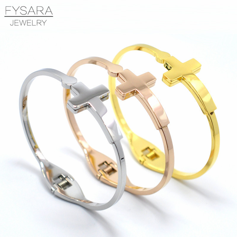 Vintage Jewelry Wristband Women's Accessories Stainless Steel Rose Gold Color Prayer Arm Cuff Cross Bangles & Bracelets For Men