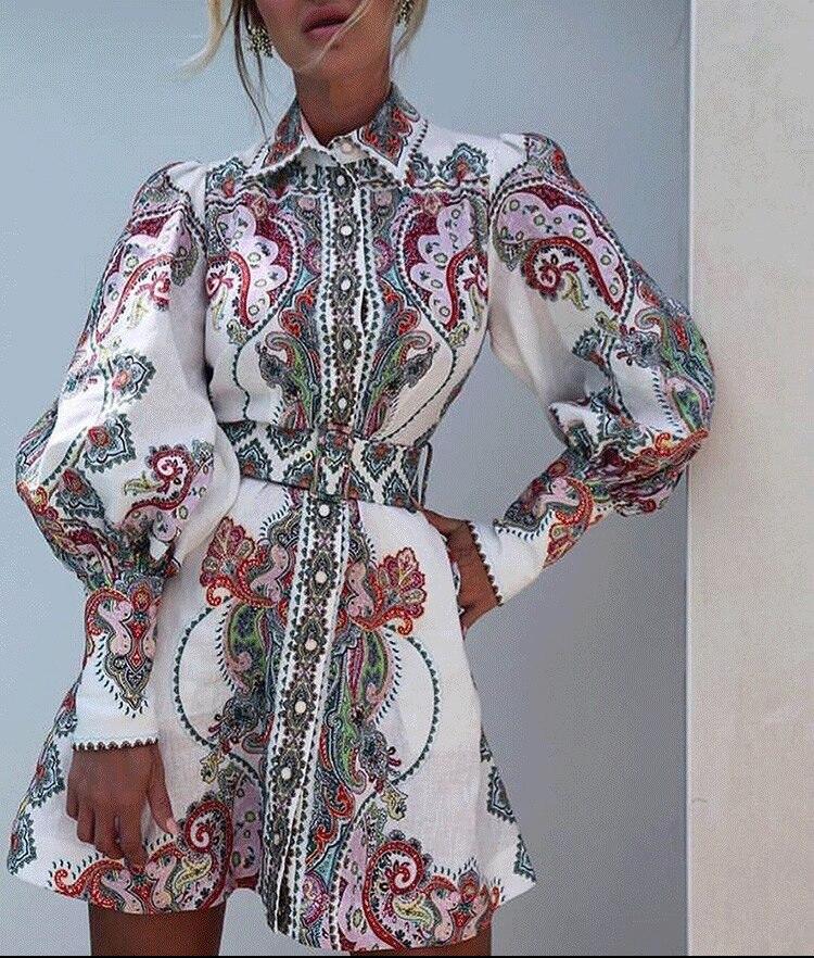 Bettwäsche Runway Stil Lennon Paisley Print Filigrane Hemd Kleid Blouson Ärmel & Vorderen Knopf Verschluss & Abnehmbare Passenden Gürtel-in Kleider aus Damenbekleidung bei  Gruppe 1