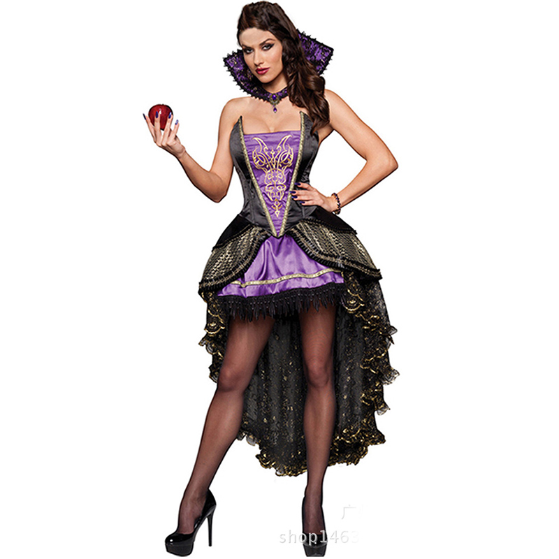 Purple  Black Deguisement Sexy Snow White Evil Queen Costume Adult Halloween Party Game Cosplay Fancy Dress Costumes For Women-In Sexy Costumes -5480