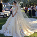 3M Long Cathedral Train Yellow Wedding Dresses robe de mariage 2017 Flower Off Shoulder Vintage Princess Beading Bridal Gowns