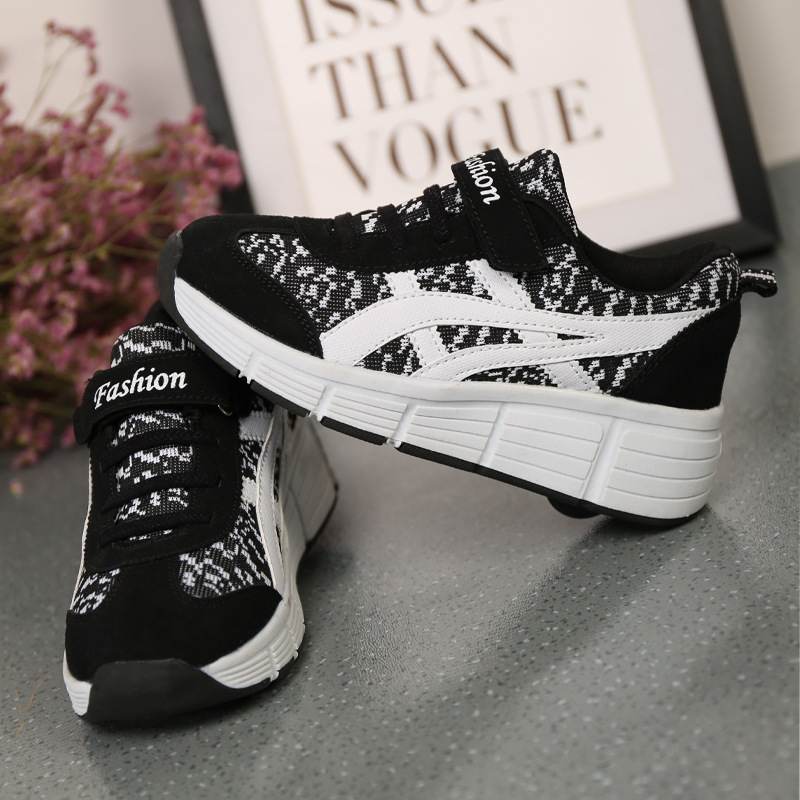 New Arrive 2017 Children Genuine Leather Men and Women Button Automatic Sports Roller font b Shoes