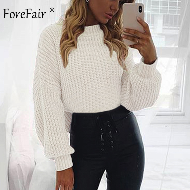 Forefair Casual Turtleneck Sweater Woman Winter Knitting Pullovers Lantern Sleeve Short Black White Knitted Solid Women Jacket