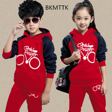 ФОТО big kids children sweater suits with velvet autumn kids set 2017 new boys and girls in long sleeve