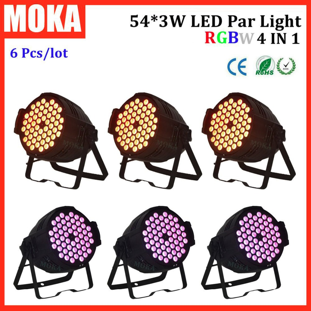 6 Pcs/lot 54*3W par led rgbw flashlight party lights for stage/studio/theatre/dyeing/effects stage lighting for sale theatre of incest