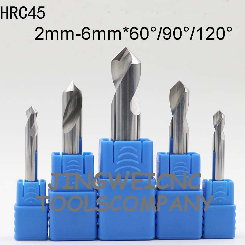 цены HRC 45 Tungsten Carbide NC Spot Drill countersink drill bit 2,2.5,3,4,5,6mm with 60degree 90degreee 120degree