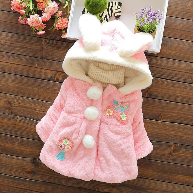 Baby Parka Plus Thick Baby Girls Cute Rabbit Ears Snow Wear Infant Girls Outerwear Coat Single-breasted Toddler Girls Clothing