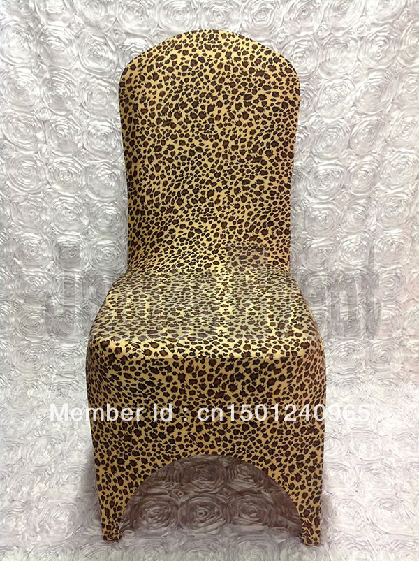 Hot Sale Leopard Skin Print Spandex Chair Cover Arch Front