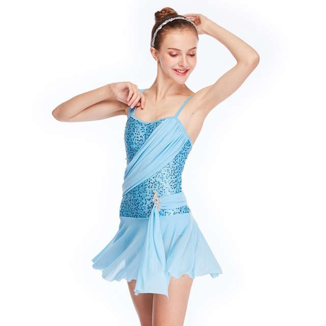 IN STOCK Mood Royal Blue Sequin Lyrical Dress Girls Ladies Dance Costumes