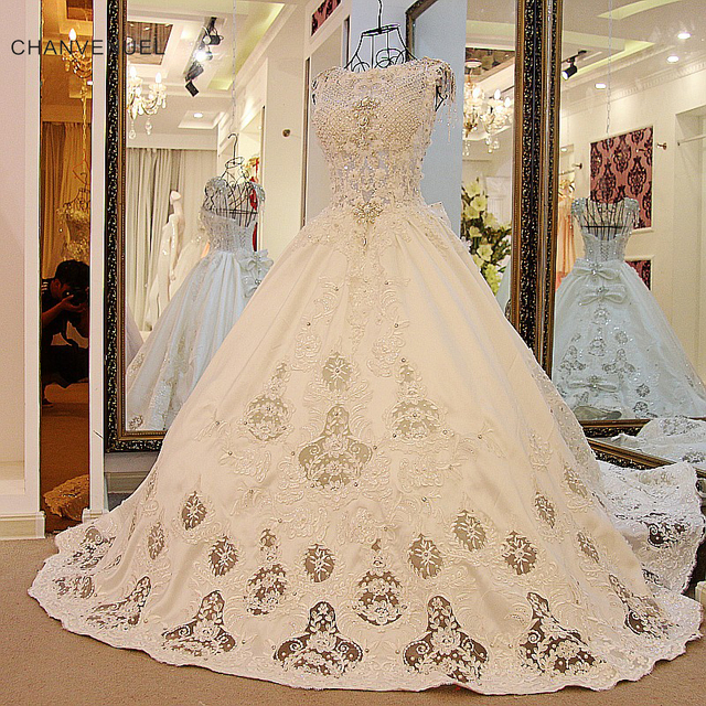LS54801 Luxury Crystal Wedding Dresses Ball Gown Corset Back ...