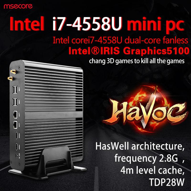 Fanless Intel Core i7 4558U Mini PC Desktop Computer Windows 10 NUC thin clien Pocket PC