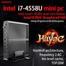Fanless Mini PC Desktop Computer Windows 10 TV Box raspberry pi 3 Nettop Core i7 4558U HTPC iris5100 Graphics 4K HD 300M WiFi