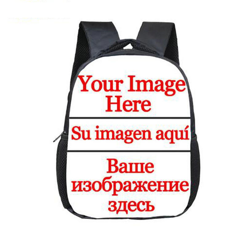 Cartoon 12 Inch Customize Your Logo Name Image Toddlers Backpack Children School Bags Baby Kindergarten Backpack Kids Gift Bags