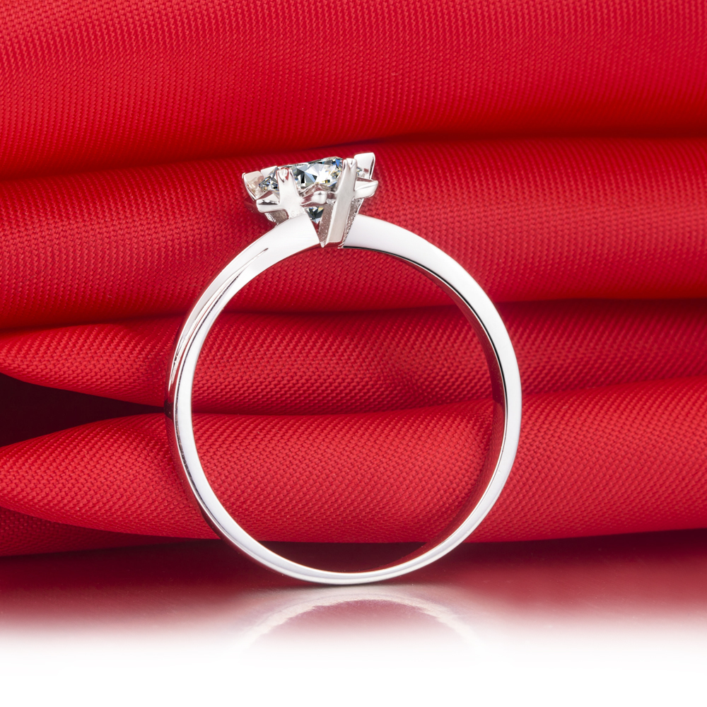 Popular Style Solid 585 Gold Ring 1ct Synthetic Diamonds Anniversary