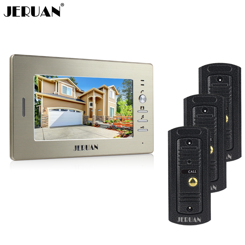 JERUAN Home wired 7`` color screen video door phone intercom system + waterproof metal pinhole Cameras open the door In Stock jeatone video phone home intercom audio doorbell 3 7mm pinhole cameras with 4 indoor monitor screen wired office intercom