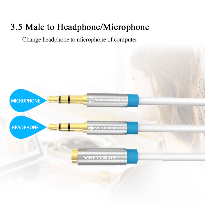 Vention Splitter Headphone for Computer 3.5mm Female to 2 Male 3.5mm Mic Audio Y Splitter Cable Headset to PC Adapter
