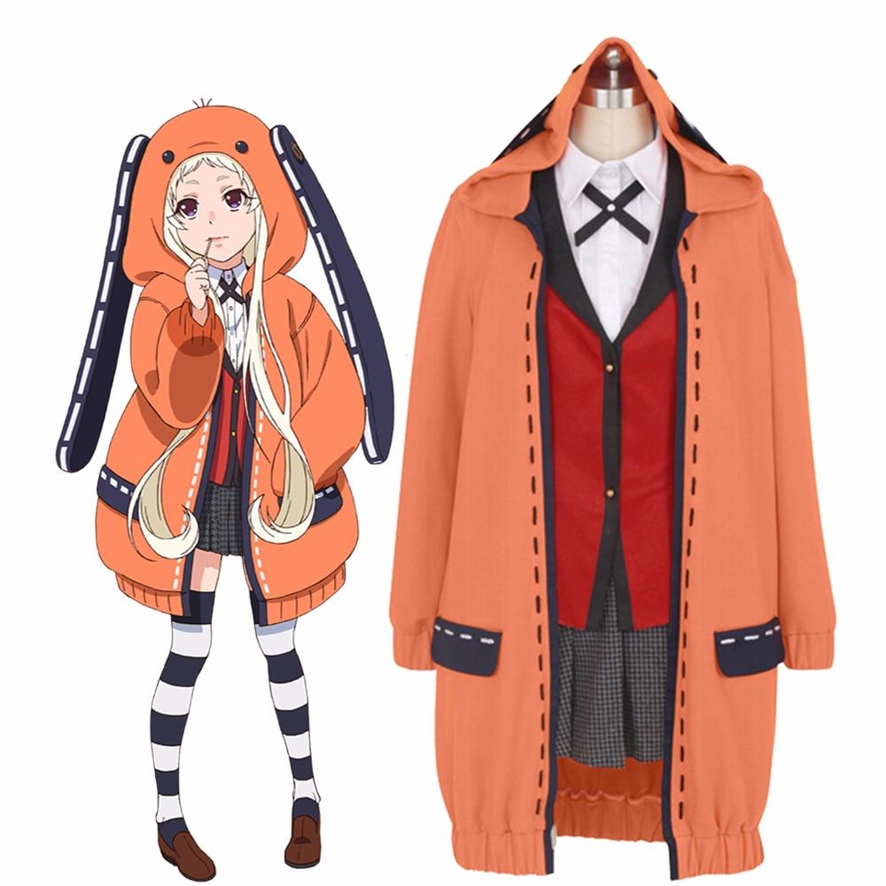 Anime Kakegurui Compulsieve Gokker Yomozuki Runa Cosplay Kostuum Leuke Konijnenoren Hoodies Uniformen Halloween Volledige Set Outfits