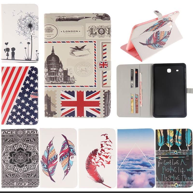 For Samsung Galaxy Tab E 9.6 SM-T560 T561 Tablet Print Flip Stand PU Leather Protective Skin Cover Case For Samsung T560 KF433D bf luxury tablet case for samsung galaxy tab e 9 6 sm t560 sm t561 t560 t561 pu leather flip cute book stand cover protector