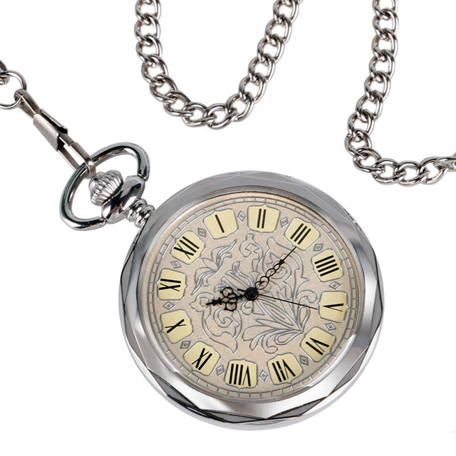 2016 Classic Open Face Pocket Watch Vintage Silver Mechanical Hand Wind Clock Relogio De Bolso With Chain For Men Ladies